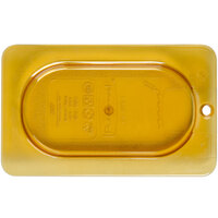 Rubbermaid FG202P23AMBR 1/9 Size Amber High Heat Food Pan Cover with Peg Hole and Handle
