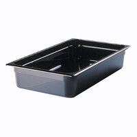 Rubbermaid FG240P00BLA 1/2 Size Long Black High Heat Food Pan - 4 inch Deep