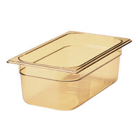 Rubbermaid FG212P00AMBR 1/4 Size Amber High Heat Food Pan - 6 inch Deep