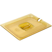 Rubbermaid FG228P86AMBR 1/2 Size Amber Notched High Heat Food Pan Lid with Handle