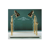 Hanson Brass CD/WB/BR Two Lamp 20 inch x 36 inch Brass Carving Station with White Solid Base and Sneeze Guard