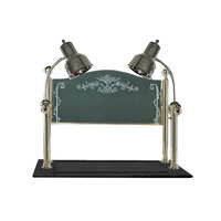 Hanson Brass CD/BB/CH Two Lamp 20 inch x 36 inch Chrome Carving Station with Synthetic Granite Base and Sneeze Guard