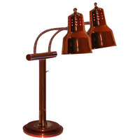 Hanson Brass EDL/RB9/SOL/SC Dual Bulb Freestanding Flexible Heat Lamp with Smoked Copper Finish - 9 inch Round Base