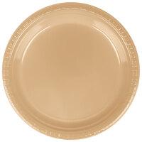 Creative Converting 28103021B 9 inch Glittering Gold Plastic Dinner Plate - 600 / Case