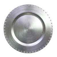 The Jay Companies 13 inch Round Silver Jeweled Rim Polypropylene Charger Plate