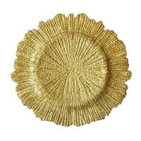 The Jay Companies 13 inch Round Reef Gold Glass Charger Plate