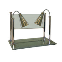 Hanson Brass CD/900/ST Two Single Bulb 20 inch x 36 inch Stainless Steel Carving Display with 900 Series Shades, Synthetic Granite Base, and Sneeze Guard