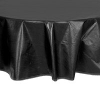 60 inch Round Black Vinyl Table Cover with Flannel Back