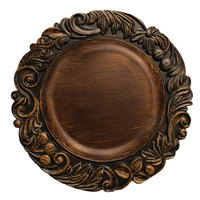 The Jay Companies 14 inch Round Dark Oak Aristocrat Polypropylene Charger Plate