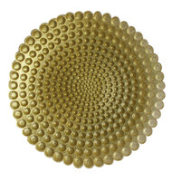 The Jay Companies 13 inch Round Pearl Gold Glass Charger Plate