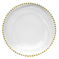 The Jay Companies 13 inch Round Gold Beaded Glass Charger Plate