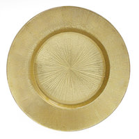 The Jay Companies 13 inch Round Glass Gold Burst Charger Plate