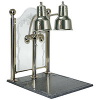 Hanson Brass DLM/CC/BB/CH Dual Bulb 20 inch x 24 inch Chrome Carving Display with Synthetic Granite Base and Sneeze Guard