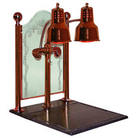 Hanson Brass DLM/CC/BB/SC Dual Bulb 20 inch x 24 inch Smoked Copper Carving Display with Synthetic Granite Base and Sneeze Guard