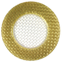 The Jay Companies 13 inch Round Glass Braid Gold Glitter Charger Plate