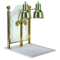 Hanson Brass DLM/CC/WB/BR Dual Bulb 20 inch x 24 inch Brass Carving Display with White Solid Surface Base and Sneeze Guard