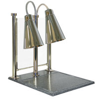 Hanson Heat Lamps DLM/900/CC/ST Streamline Style Dual Bulb 20 inch x 24 inch Stainless Steel Carving Station with 900 Series Shades, Solid Cutting Base, and Sneeze Guard