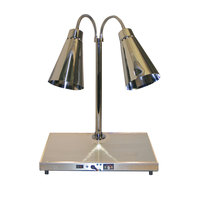 Hanson Heat Lamps DLM/HB/900/ST2024 Streamline Style Dual Bulb 20 inch x 24 inch Brass Carving Station with 900 Series Shades and Heated Base - 120V