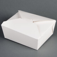 6 inch x 5 inch x 3 inch ChampPak Retro White Paper #8 Take-Out Container - 300 / Case