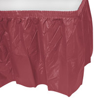 Creative Converting 743122 14' x 29 inch Burgundy Disposable Plastic Table Skirt