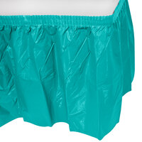 Creative Converting 10045 14' x 29 inch Tropical Teal Disposable Plastic Table Skirt