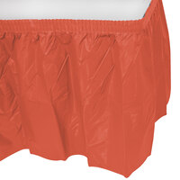 Creative Converting 743121 14' x 29 inch Brick Red Disposable Plastic Table Skirt