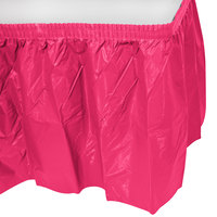 Creative Converting 10030 14' x 29 inch Hot Magenta Disposable Plastic Table Skirt