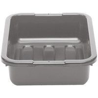Cambro 1520CBP180 20 inch x 15 inch x 5 inch Dark Gray Polyethylene Plastic Bus Box with Flat Bottom