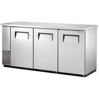 True TBB-24-72FR-S 73 inch Stainless Steel Food Rated Back Bar Refrigerator with Three Solid Doors - 24 inch Deep