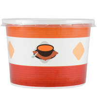 Choice 12 oz. Double-Wall Poly Paper Soup / Hot Food Cup with Plastic Lid - 250 / Case