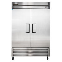True TS-49F 54 inch Stainless Steel Two Section Solid Door Reach in Freezer - 42.1 cu. ft.