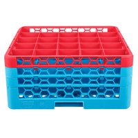 Carlisle RG25-3C410 OptiClean 25 Compartment Glass Rack with 3 Color-Coded Extenders - Red / Carlisle Blue