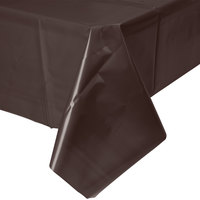 Creative Converting 723038B 54 inch x 108 inch Chocolate Brown Disposable Plastic Table Cover - 24 / Case