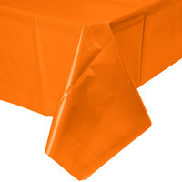 Creative Converting 01192B 54 inch x 108 inch Sunkissed Orange Plastic Table Cover - 24/Case