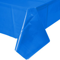 Atlantis Plastics 2TCB108 54 inch x 108 inch Blue Disposable Plastic Table Cover - 12/Case
