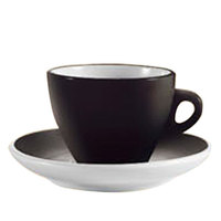CAC E-75-BLK Venice 7.5 oz. Black Cup with 5 7/8 inch Saucer - 36 Sets / Case