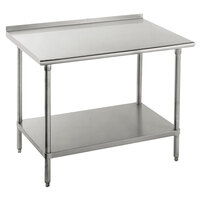 Advance Tabco FSS-244 24 inch x 48 inch 14 Gauge Stainless Steel Commercial Work Table with Undershelf and 1 1/2 inch Backsplash