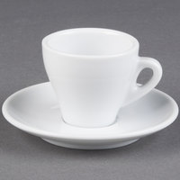 CAC E-3 Venice 3.5 oz. White Espresso Cup with 4 7/8 inch Saucer 48 Sets / Case