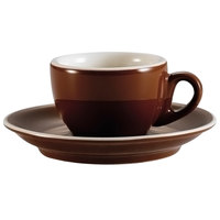 CAC CFB-1 Venice 8 oz. Brown Cup with 5 1/2 inch Saucer - 36 Sets / Case