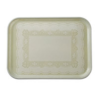 Cambro 2632241 10 7/16 inch x 12 3/4 inch (26,5 x 32,5 cm) Rectangular Metric Doily Antique Parchment Fiberglass Camtray - 12 / Case
