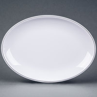 Elite Global Solutions D2211L Viva 11 inch x 7 7/8 inch White Oval Plate with Black Trim