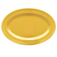 Elite Global Solutions D812OV Rio Yellow 12 3/4 inch x 8 3/4 inch Oval Melamine Platter