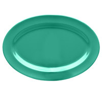 Elite Global Solutions D812OV Rio Autumn Green 12 3/4 inch x 8 3/4 inch Oval Melamine Platter