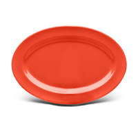 Elite Global Solutions D69OV Rio Spring Coral 9 1/4 inch x 6 1/4 inch Oval Melamine Platter