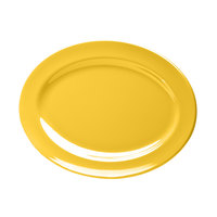 Elite Global Solutions D1014OV Rio Yellow 14 1/2 inch x 10 1/2 inch Oval Melamine Platter