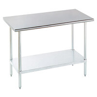 16 Gauge Advance Tabco ELAG-182-X Stainless Steel Work Table with Galvanized Legs and Undershelf - 24 inch x 18 inch