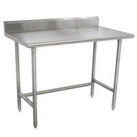 Advance Tabco TKMSLAG-244-X 48 inch x 24 inch 16 Gauge Professional Stainless Steel Work Table with 5 inch Backsplash