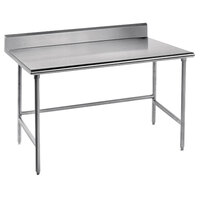 Advance Tabco TKMSLAG-307-X 84 inch x 30 inch 16 Gauge Professional Stainless Steel Work Table with 5 inch Backsplash