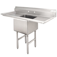Advance Tabco FC-1-1620-18RL One Compartment Stainless Steel Commercial Sink with Two Drainboards - 52 inch