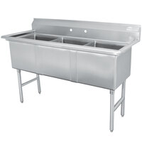 Advance Tabco FC-3-1620 Three Compartment Stainless Steel Commercial Sink without Drainboard - 53 inch